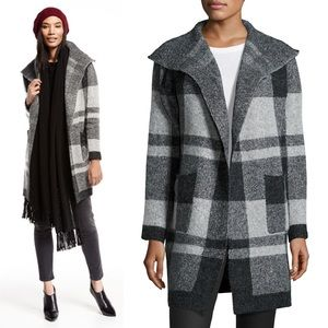 {Metric Knits} Plaid Open-Front Long Cardigan